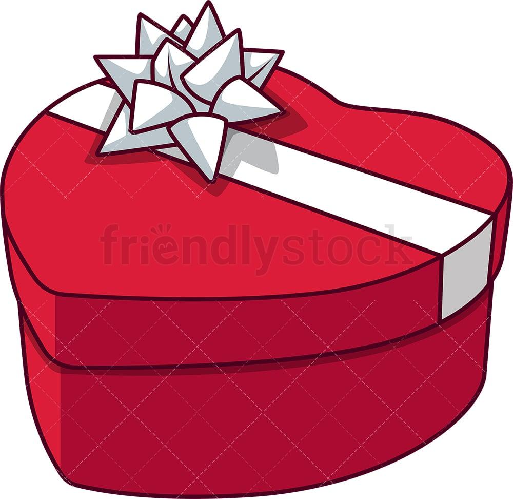 Heart Shape Gift Box Cartoon Vector Clipart Friendlystock