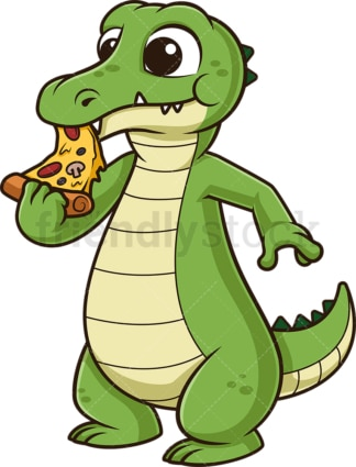 Alligator eating pizza. PNG - JPG and vector EPS (infinitely scalable).