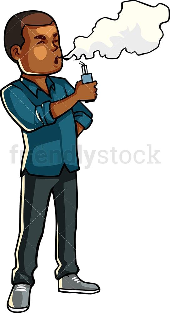 Black Guy Smoking Electronic Cigarette Cartoon Vector Clipart Friendlystock