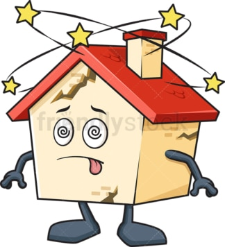 Broken dizzy house mascot. PNG - JPG and vector EPS (infinitely scalable).