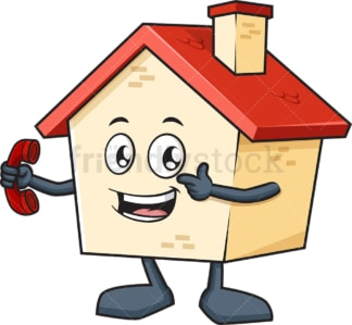 House mascot holding phone. PNG - JPG and vector EPS (infinitely scalable).