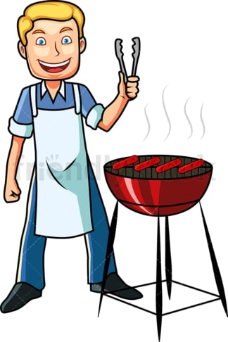 Man grilling delicious hot dogs. PNG - JPG and vector EPS file formats (infinitely scalable). Image isolated on transparent background.