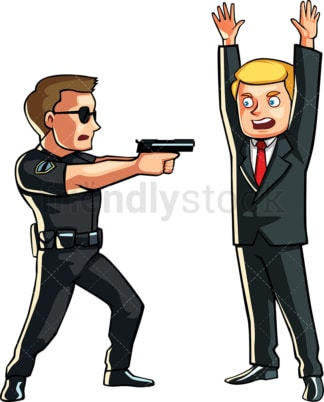 Policeman pointing his gun at businessman. PNG - JPG and vector EPS file formats (infinitely scalable). Image isolated on transparent background.