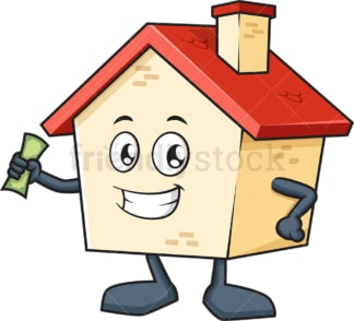 House mascot holding money. PNG - JPG and vector EPS (infinitely scalable).