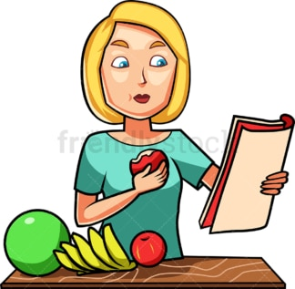 Woman eating an apple while reading. PNG - JPG and vector EPS file formats (infinitely scalable). Image isolated on transparent background.