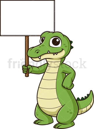 Alligator holding blank sign. PNG - JPG and vector EPS (infinitely scalable).