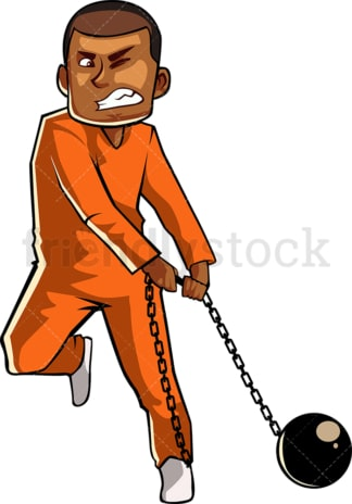 Black male inmate with ball and chain. PNG - JPG and vector EPS file formats (infinitely scalable). Image isolated on transparent background.