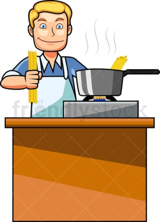Caucasian man making spaghetti. PNG - JPG and vector EPS file formats (infinitely scalable). Image isolated on transparent background.