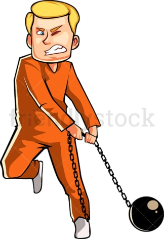 Prisoner carrying ball and chain. PNG - JPG and vector EPS file formats (infinitely scalable). Image isolated on transparent background.