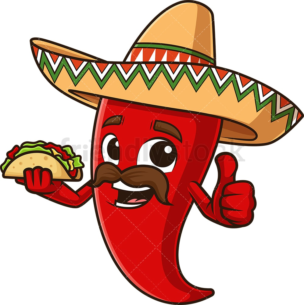 Mexican Red Pepper Holding Taco Cartoon Vector Clipart Friendlystock