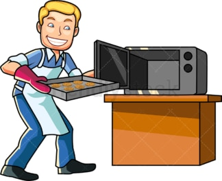 Caucasian man baking cookies. PNG - JPG and vector EPS file formats (infinitely scalable). Image isolated on transparent background.