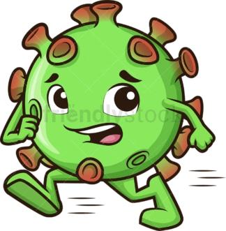 Coronavirus running away. PNG - JPG and vector EPS (infinitely scalable).