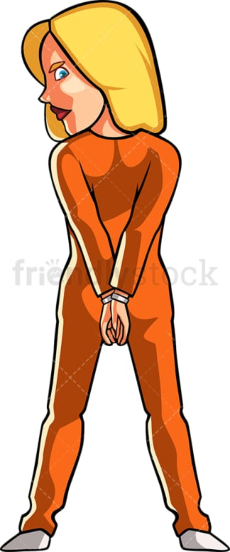 Female inmate in orange prison jumpsuit. PNG - JPG and vector EPS file formats (infinitely scalable). Image isolated on transparent background.