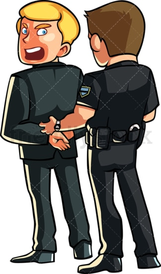 Police officer arresting protesting man . PNG - JPG and vector EPS file formats (infinitely scalable). Image isolated on transparent background.