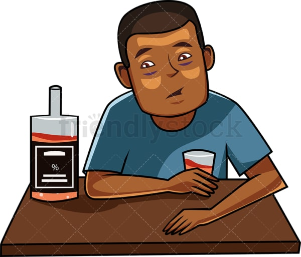 Black male drinking alcohol. PNG - JPG and vector EPS file formats (infinitely scalable). Image isolated on transparent background.
