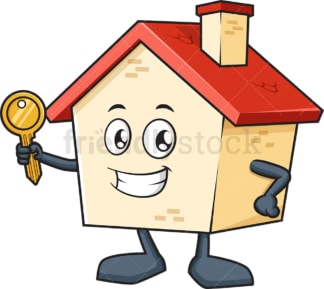 House mascot holding key. PNG - JPG and vector EPS (infinitely scalable).