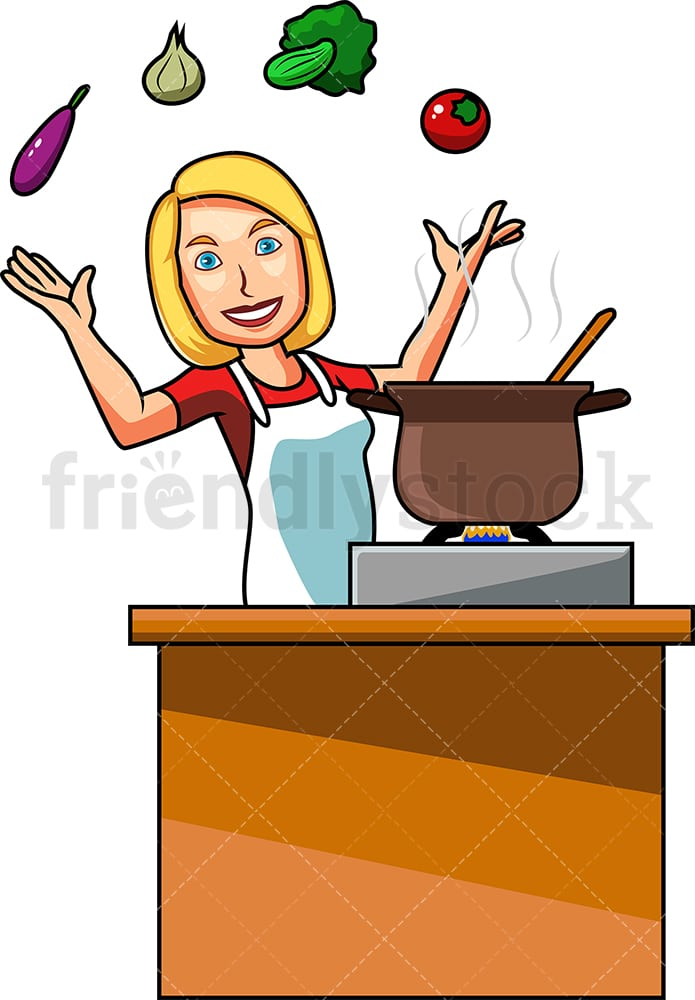 Woman Cooking With Vegetables Cartoon Vector Clipart Friendlystock