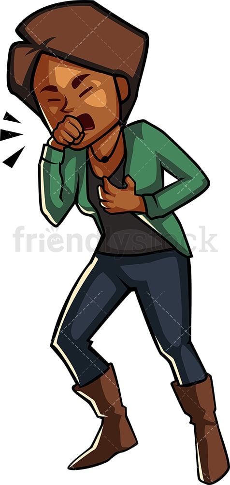Black Woman Having A Nasty Cough Cartoon Vector Clipart Friendlystock