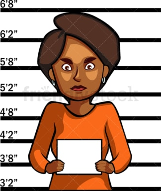 Black woman police mugshot. PNG - JPG and vector EPS file formats (infinitely scalable). Image isolated on transparent background.
