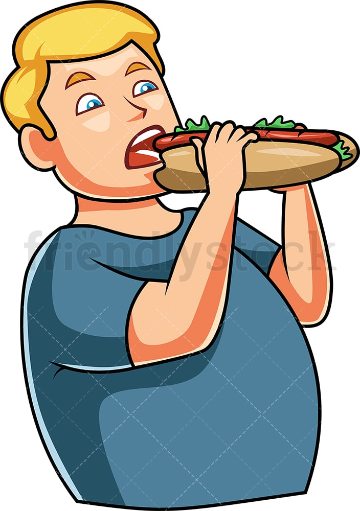 man eating submarine style sandwich cartoon vector clipart friendlystock man eating submarine style sandwich cartoon vector clipart friendlystock