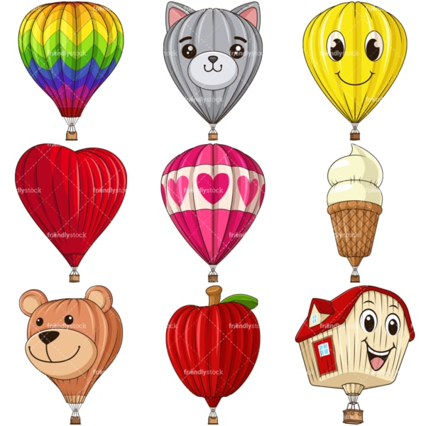Cartoon hot air balloons. PNG - JPG and infinitely scalable vector EPS - on white or transparent background.