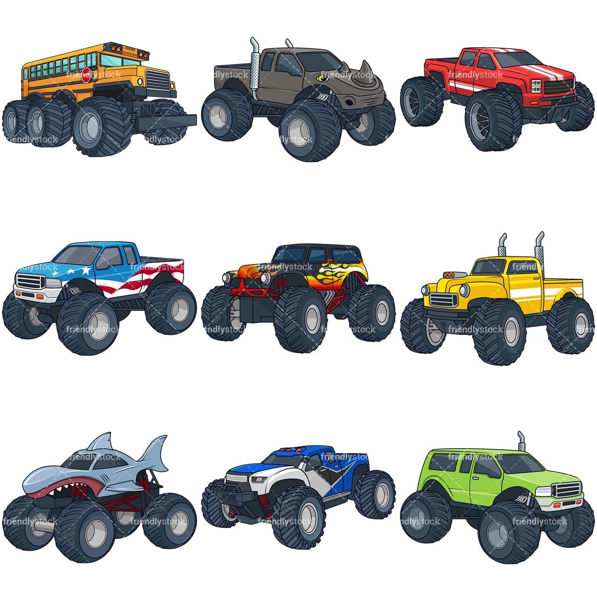 Cartoon Monster Trucks Clipart Vector Collection Friendlystock