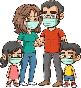 Family wearing surgical face masks. PNG - JPG and vector EPS file formats (infinitely scalable). Image isolated on transparent background.