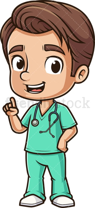 Cute male nurse pointing up. PNG - JPG and vector EPS (infinitely scalable).