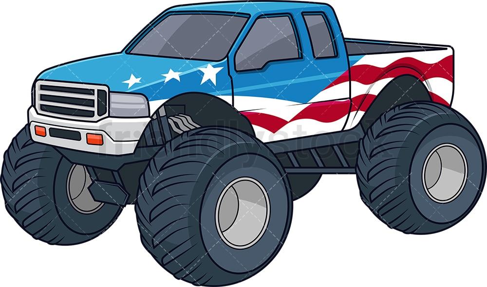 Patriotic Monster Truck Cartoon Clipart Vector Friendlystock