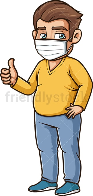 Chubby man wearing face mask. PNG - JPG and vector EPS (infinitely scalable).