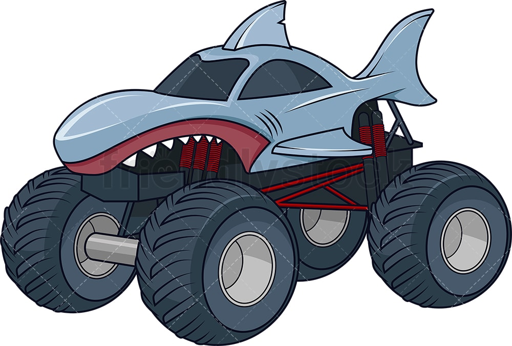 Shark Monster Truck Cartoon Clipart Vector Friendlystock