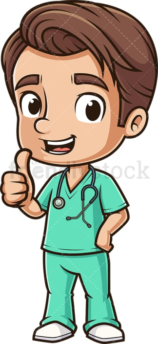 Cute male nurse thumbs up. PNG - JPG and vector EPS (infinitely scalable).