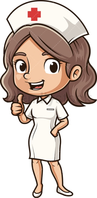 Cute nurse thumbs up. PNG - JPG and vector EPS (infinitely scalable).