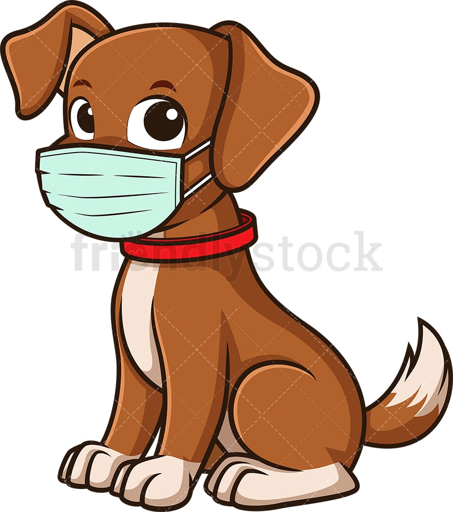 Dog Wearing Medical Face Mask Cartoon Vector Clipart Friendlystock