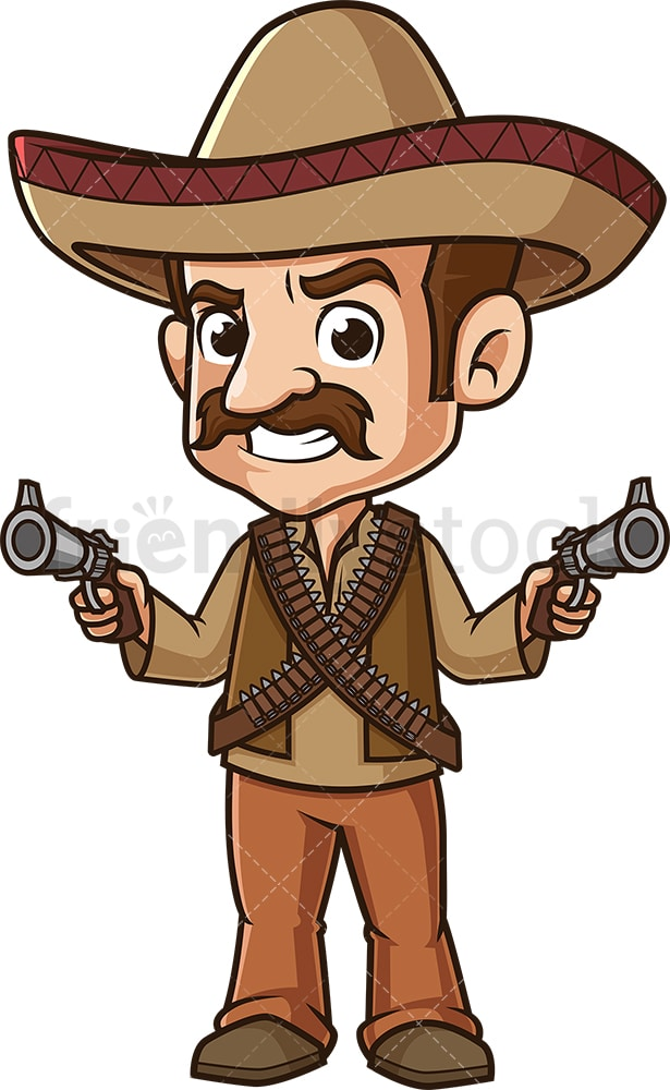 Mexican Bandit Cartoon Clipart Vector Friendlystock