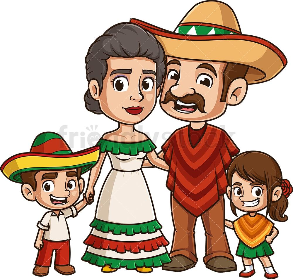 Mexican Family Cartoon Vector Clipart - FriendlyStock