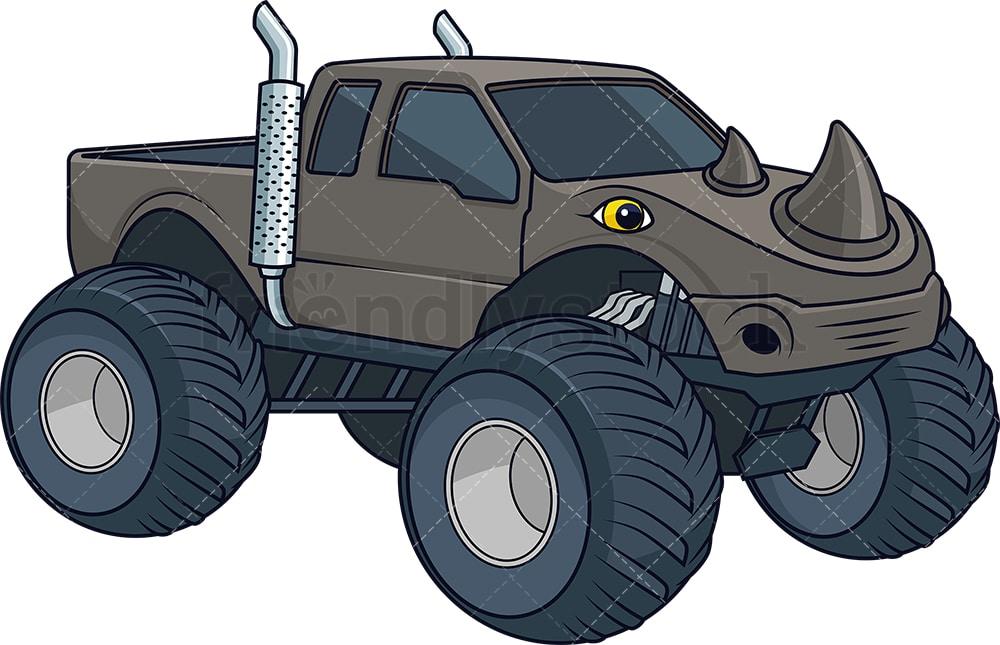 Rhino Monster Truck Cartoon Clipart Vector Friendlystock