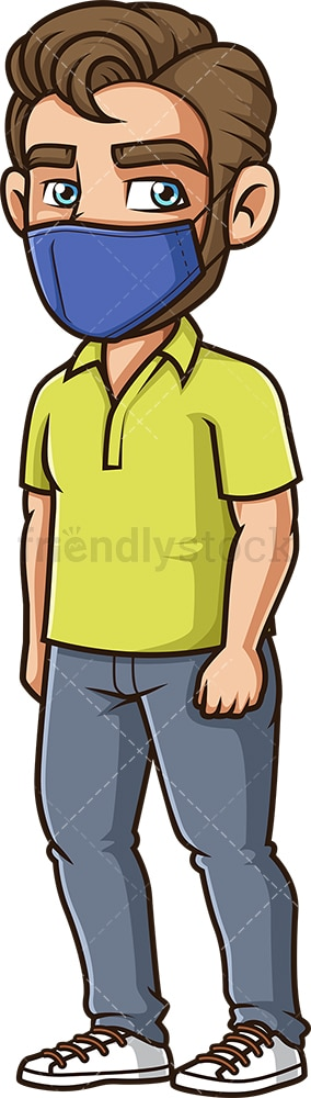 Caucasian man wearing face mask. PNG - JPG and vector EPS (infinitely scalable).