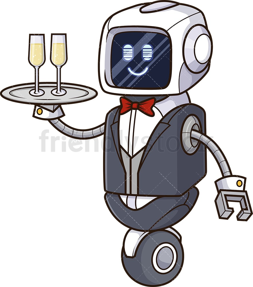 Robot Butler Cartoon Vector Clipart Friendlystock