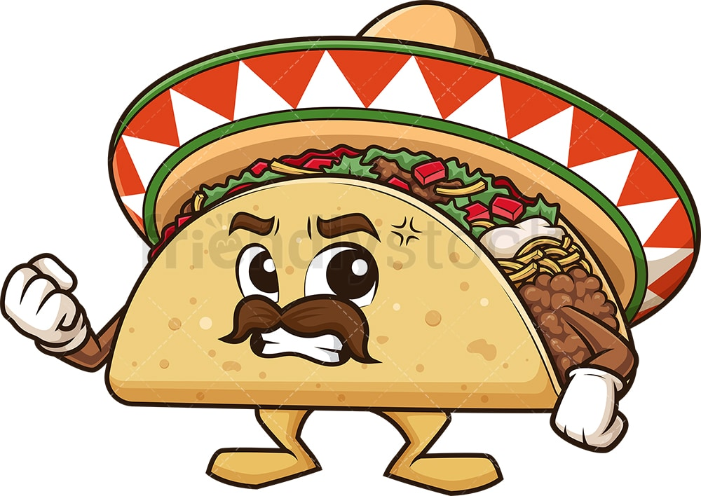 Angry Mexican Taco Cartoon Clipart Vector Friendlystock