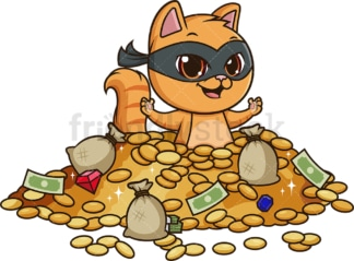 Cat bandit in treasure. PNG - JPG and vector EPS file formats (infinitely scalable). Image isolated on transparent background.