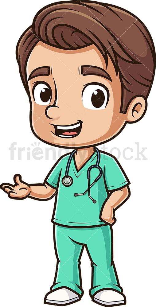 Cute Male Nurse Presenting Cartoon Clipart Vector Friendlystock