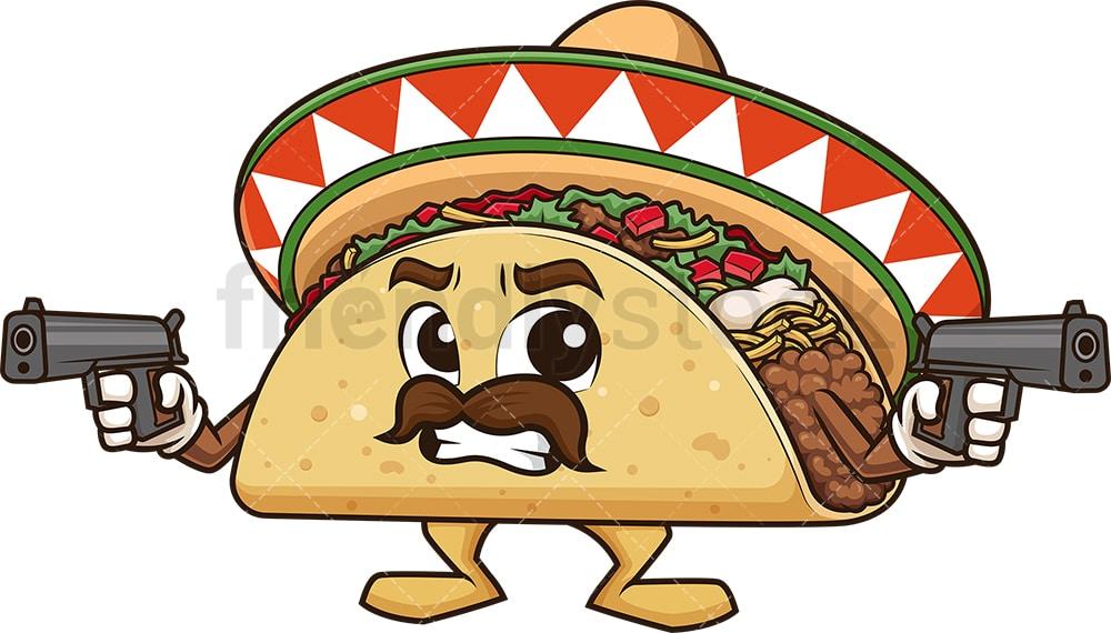 Mexican Taco Holding Guns Cartoon Clipart Vector Friendlystock