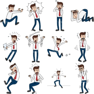 12 vector images of a frightened & panicked businessman. PNG - JPG and vector EPS file formats (infinitely scalable). Images isolated on transparent background.