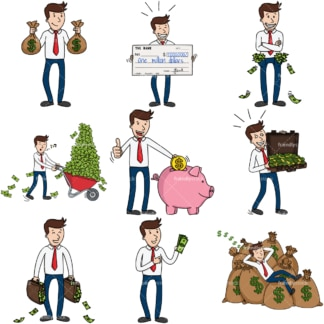 9 money-themed vector images of an extremely rich businessman. PNG - JPG and infinitely scalable vector EPS - on white or transparent background.