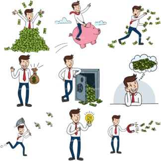 9 vector images of a wealthy & successful entrepreneur. PNG - JPG and infinitely scalable vector EPS - on white or transparent background.