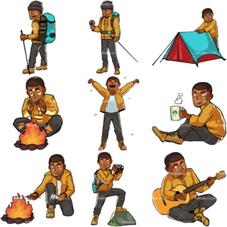 Black male camping and hiking. PNG - JPG and vector EPS file formats (infinitely scalable). Images isolated on transparent background.