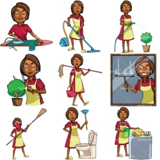 Black woman doing housework chores. PNG - JPG and vector EPS file formats (infinitely scalable). Images isolated on transparent background.