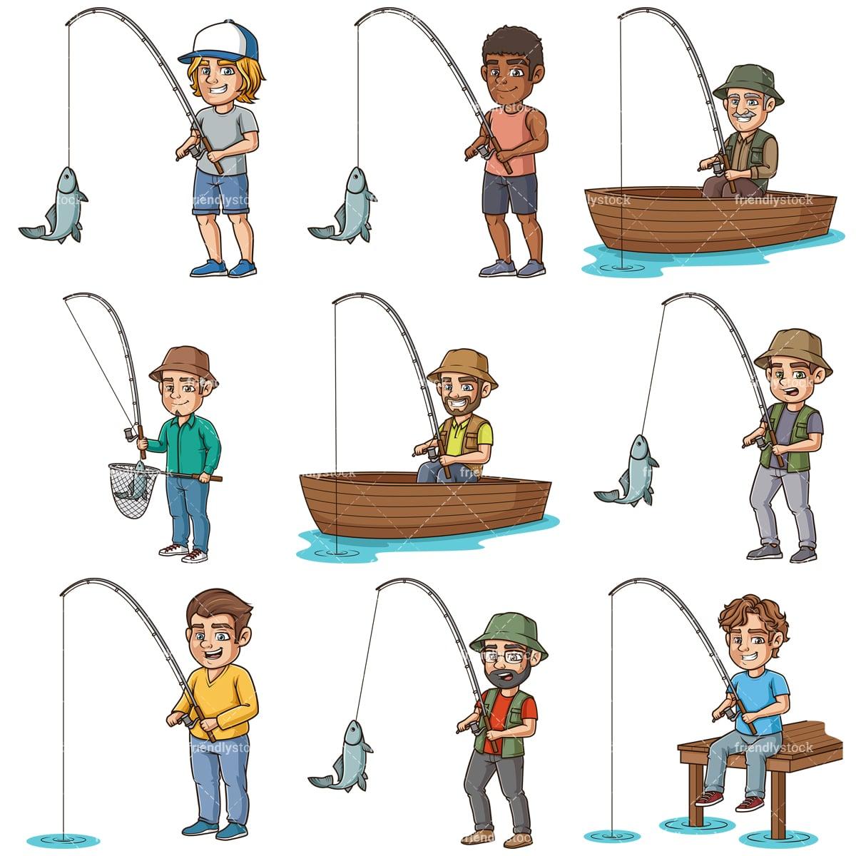 Cute cartoon boy fishing vector image on VectorStock | Cute cartoon boy, Boy  fishing, Cartoon boy