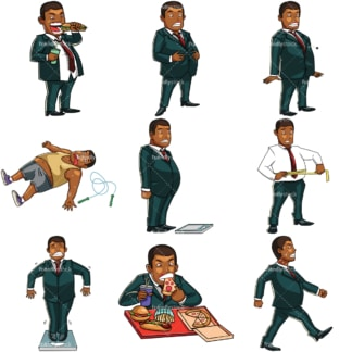 Cartoon overweight black businessman. PNG - JPG and vector EPS file formats (infinitely scalable). Images isolated on transparent background.